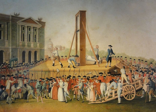 Marie Antoinette's execution in 1793 at the Place de la Révolution